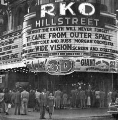 Movie theater marquee promotes It Came From Outer Space in 3-D