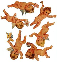 Cherub and Baby paper doll set from the late 40s or early 50s. The envelope I stored these in had lots of cat scratches on it, so in the 50 plus years i have preserved these some burrowing cat was in a file cabinet trying to make a nice place to sleep. I know one set of shoes is gone and they are quite brittle. These could be still under copyright. I have no authorship info.