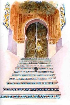 Escalier mosquée sidi Abu Median - Peinture, 30x40 cm ©2008 par Catherine Rossi - Art Et Architecture, Architecture Sketchbook, Watercolor Art Landscape, Watercolour, Art Arabe, Arabian Art, Islamic Pictures, People Art, Moorish