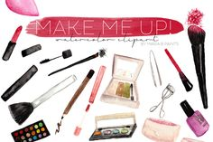 Makeup Clipart - Watercolor Make up - Illustrations - 1