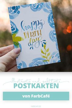 """""""Happy Birthday"""" Handlettering Postkarte Geburtstagskarte"""