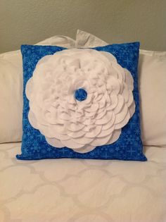 Made by ME :) White Felt Flower Pillow Snowflakes by humbledhearts on Etsy, $25.00