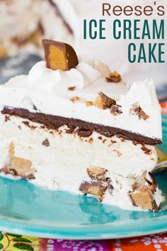 Reese's Peanut Butter Ice Cream Cake has layers of no-churn ice cream filled with peanut butter cups and rich chocolate ganache, all covered with freshly whipped cream and more Reese's! It's the ultimate frozen dessert recipe for chocolate and peanut butter lovers and you don't need an ice cream machine to make this homemade treat!