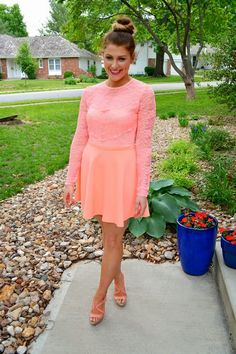Pastries, Pumps and Pi: Who's Wearing What Wednesdays Neon and lace dress