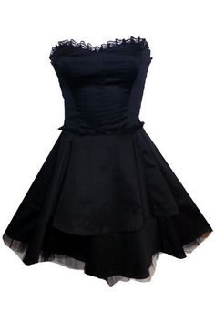 Strapless Little Black Party Dress with Ribbon Lacing