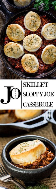 This Sloppy Joe Casserole is made in a skillet and features all the great flavors of your favorite Sloppy Joes and is topped with tender flaky biscuits.