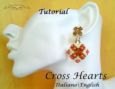 Cross Hearts Earrings   PDF Beading tutorial color graphics