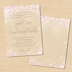 Pink and Gold Shimmer Editable Wedding by BrownPaperMoon on Etsy, $14.00...add silver, gold and  white glitter around the edges and change font to silver
