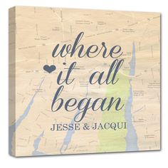 This is a fun idea – Cotton Anniversary gift: Vintage map with a heart where you met and fell in love.