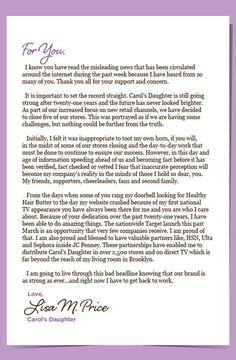 Carol's Daughter Open Letter