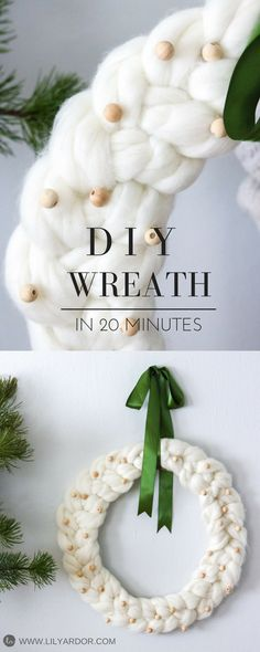 Chunky knit wreath that only takes 20 minutes to make and will look perfect in any home.