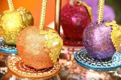 Glittery candy apples at a Moroccan baby shower party! See more party planning ideas at CatchMyParty.com!