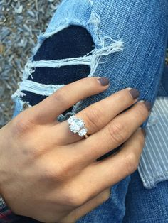 Oval cut #diamond engagement #ring with stacked accents. http://jangmijewelry.com/