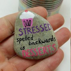 desserts to sell Your place to buy and sell all things handmade Rock Painting Patterns, Rock Painting Ideas Easy, Rock Painting Designs, Pebble Painting, Pebble Art, Stone Painting, Painting Art, Stone Crafts, Rock Crafts