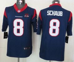 4dd2875df Nike Texans  8 Matt Schaub Navy Blue Team Color With 10th Patch Men s  Embroidered NFL