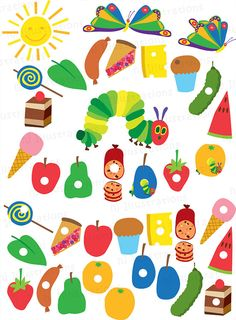 Very Hungry Caterpillar digital clipart, scrapbooking, web design, card design, birthday party invitations - Hungry Caterpillar Invitations, Hungry Caterpillar Party, Very Hungry Caterpillar Activities, Eric Carle, Chenille Affamée, First Birthdays, Crafts For Kids, Bug Crafts, Clip Art