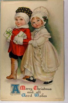Cherryland Auctions - Postcard Auction - cute Christmas couple