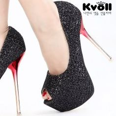 D70741 Kvoll Sexy Joker Bling Bling Peep-toe Pump Black Products Details: Color: Black Heel: 14cm, Inner Platform: 5cm Material: Lace + Sequins + Leather Lining Weight: 1.580kg Size: 34, 35, 36, 37, 38, 39 Condition: New In Box