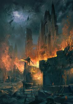 """cinemagorgeous: """"By artist Ivan 小红花. Dark Fantasy, Fantasy Concept Art, Fantasy Artwork, Fantasy Castle, Medieval Fantasy, Fantasy Places, Fantasy World, Dungeons And Dragons, Burning City"""