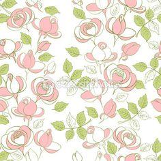 Бесшовный образец с розами — Stock Illustration #84955594