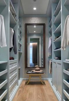 Trendy Ideas For Small Master Closet Layout Walk In Closet Walk-in, Closet Mirror, Bedroom Closet Storage, Bedroom Closet Design, Closet Ideas, Bedroom Organization, Walk In Closet Organization Ideas, Storage Organization, Wardrobe Organisation