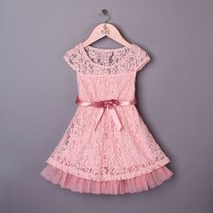 Lace Pink Girl Dress - Easter Girl Dress - Toddler Easter Dress - Birthday Girl Dress