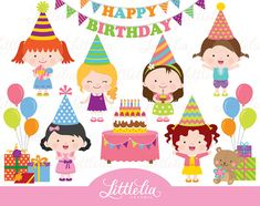 Birthday girl clipart birthday clipart by LittleLiaGraphic