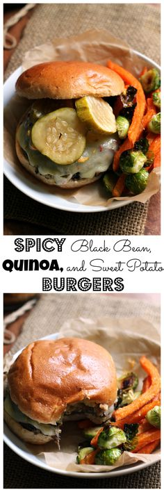 Getting dinner on the table is easy when these spicy black bean, quinoa, and sweet potato burgers are on the menu!