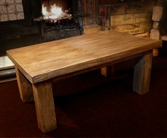 fireside coffee table, made from reclaimed wood