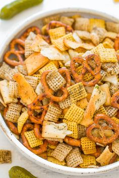 5-Minute Dill Pickle Chex Mix - Pickle lovers get ready for this ADDICTIVELY amazing Chex Mix!! Robustly flavored with ranch seasoning, dill, and pickle juice! Fast, EASY, and a perfect party snack!!