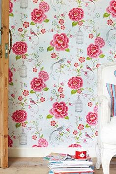 PiP Birds in Paradise White wallpaper | Traditional 2 | Wallpaper | PiP Studio