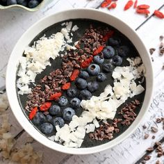 Satisfy a chocolate craving with this blueberry  cacao smoothie bowl. Unsweetened cacao powder gives you that delicious fudgy flavor without all the added calories.