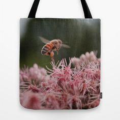 Worker Bee  canvas tote bag fine art by LegendsofDarkness on Etsy  #photography #fineart #canvastotebag #reusablebag #wearableart #honeybee #bee #pink #etsy #legendsofdarkness