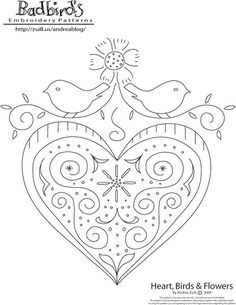 badbird embroidery pattern - (leave off top flower)
