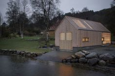 Naust V is a collaboration between Koreo Architects and Kolab Architects. The project is a transformation of an old boathouse in Vikebygd, a small village on the Norwegian west coast. A boathouse, (in Norwegian «naust Wood Architecture, Residential Architecture, Contemporary Architecture, Norway Design, Le Hangar, Boat Shed, Old Boats, Tiny House Design, Rustic Design