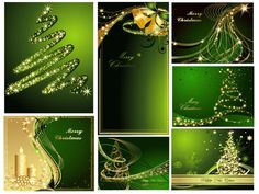 Fantastic Golden Christmas Trees in Green Background