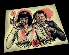 Pulp Fiction Art Print par ParlorTattooPrints sur Etsy