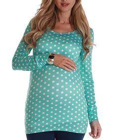 Turquoise & White Polka Dot Maternity Long-Sleeve Top