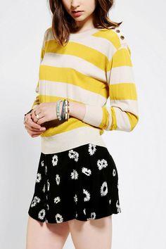 BDG Stripe Shrunken Pullover Sweater Online Only