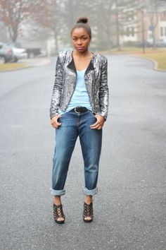 Love this combination of slouchy boyfriend jeans and a sequin blazer worn by Cortnie (from StyleLust Pages)