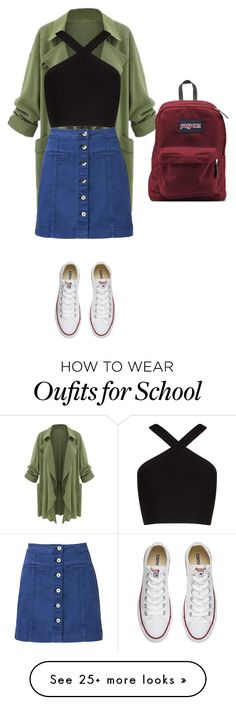 """""""Back to school"""" by classy179 on Polyvore featuring BCBGMAXAZRIA, Witchery, Converse and JanSport"""