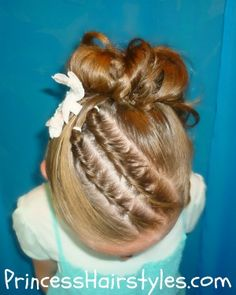 updo with twists for little girls dance performances etc