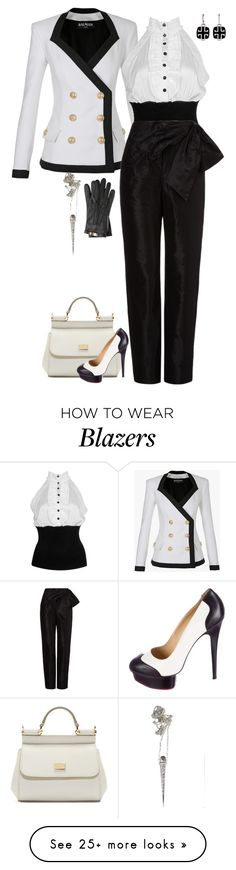 """""""BW- Contest Entry"""" by moschmaltz on Polyvore featuring Balmain, Forever 21, Isa Arfen, Dolce&Gabbana, Charlotte Olympia, Burberry and Talon"""