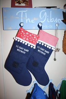 Learn how to turn ODU blouses into Christmas stockings. www.operationwearehere.com/craftssewingetc.html