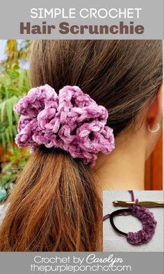 Simple Crochet Hair Scrunchie - Free Crochet Pattern A Simple. Simple Crochet Hair Scrunchie – Free Crochet Pattern A Simple Crochet Hair Scr Crochet Simple, Crochet Diy, Crochet Crafts, Crochet Projects, All Free Crochet, Basic Crochet Stitches, Crochet Basics, Easy Crochet Patterns, Crochet Designs