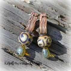 Key Fob Handmade Copper Snakeskin and Lampwork Earrings. $45.00, via Etsy.