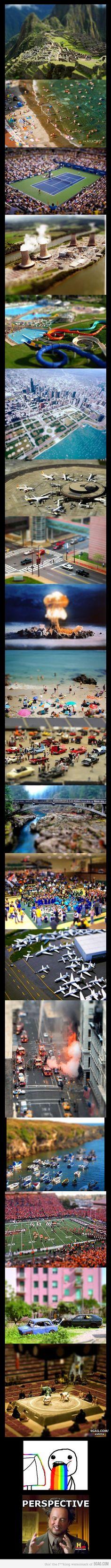 tilt shift photography -- makes everything look like miniatures. mindfuckkkk