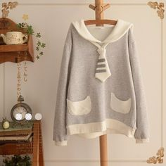 Long-sleeve Cat Sweatshirt Lolita Sailor Collar Hoodies Cute  Kawaii  Winter Harajuku Hoodies SP168356