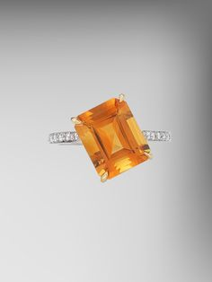 Paolo Costagli 18kt Gold Emerald Cut Citrine 11 O'Clock Ring