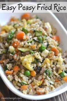 Easy 'Peasy' Fried Brown Rice - healthy, gluten-free, vegetarian-friendly meal in under 30 minutes. Great way to use a lot of vegetables at once! thekitchengirl.com